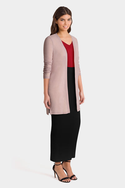 Long Beige Cardigan, Red Top & Long Black Skirt