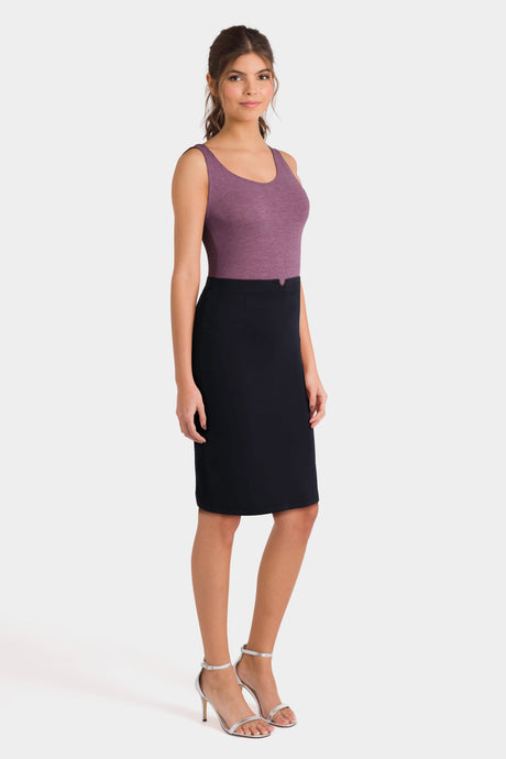 Purple Sleeveless Top & Black High Waist Skirt