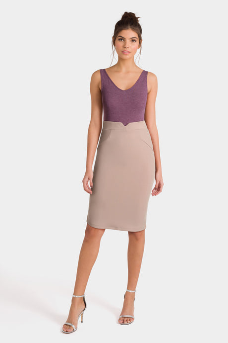 Purple Sleeveless Top & Beige High Waist Skirt