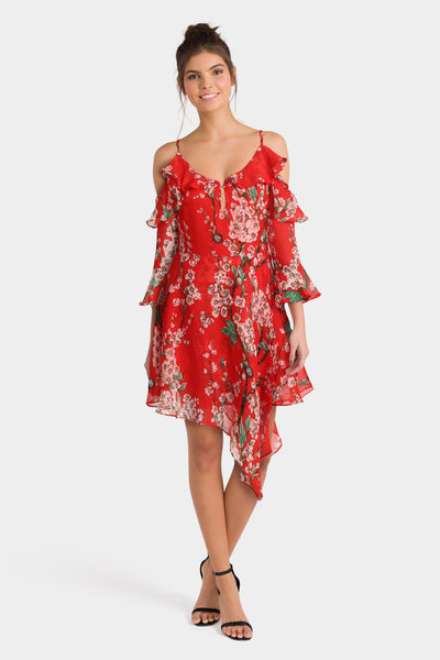 Boohoo Cold Shoulder Asymmetric Hem Dress