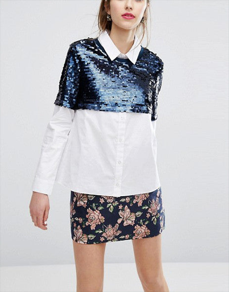 E.F.L.A Shirt With Sequin Overlay