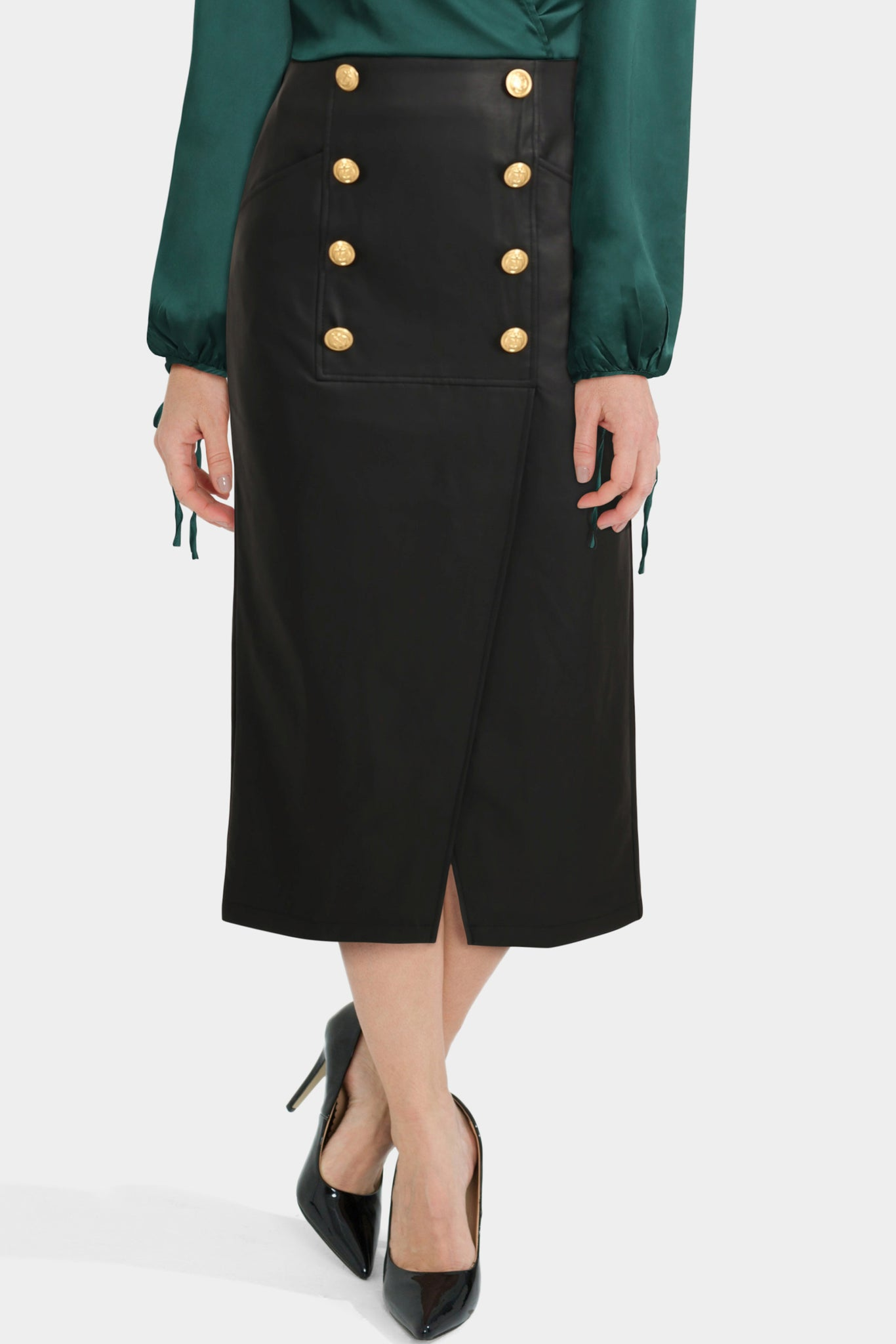 Leather Look Pencil Midi Skirt With Button Front