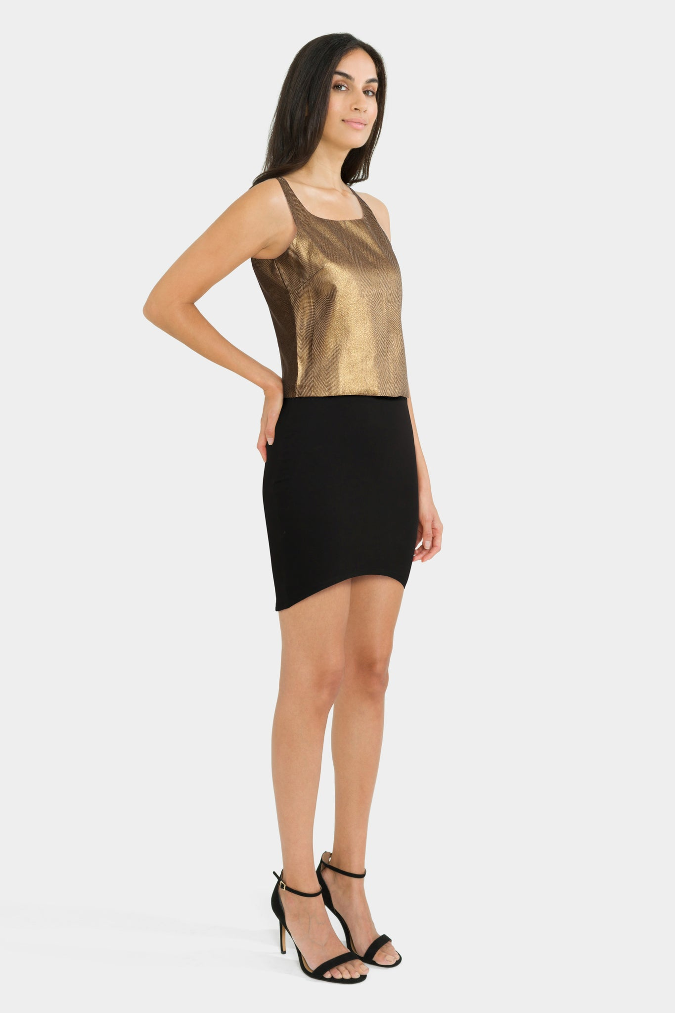 Gold Top With Black Bodycon Skirt