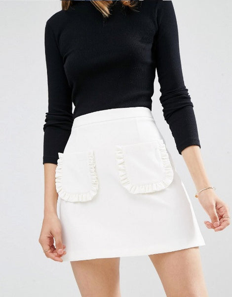 A-LINE MINI SKIRT WITH RUFFLE POCKET