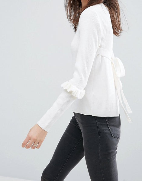 ASOS Jumper With Frill Sleeve And Open Back