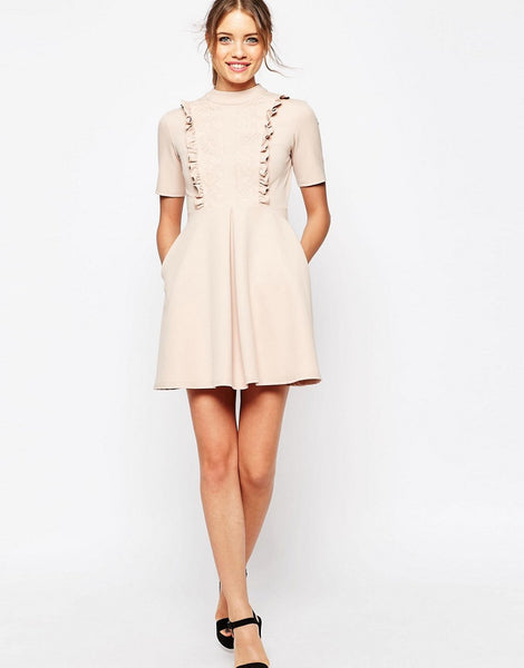 LACE PANEL FRILL NECK MINI DRESS