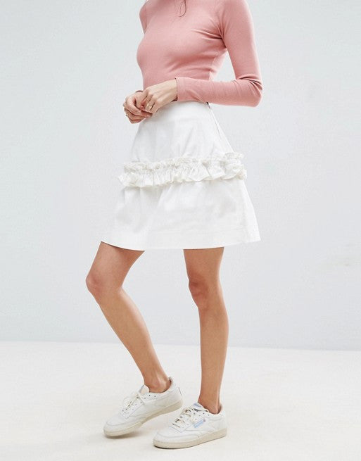 ASOS Mini Skirt in Twill with Frill Detail