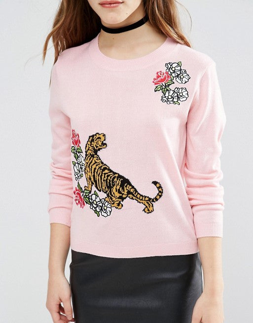 ASOS Petite Tiger Jumper with Floral Embroidery