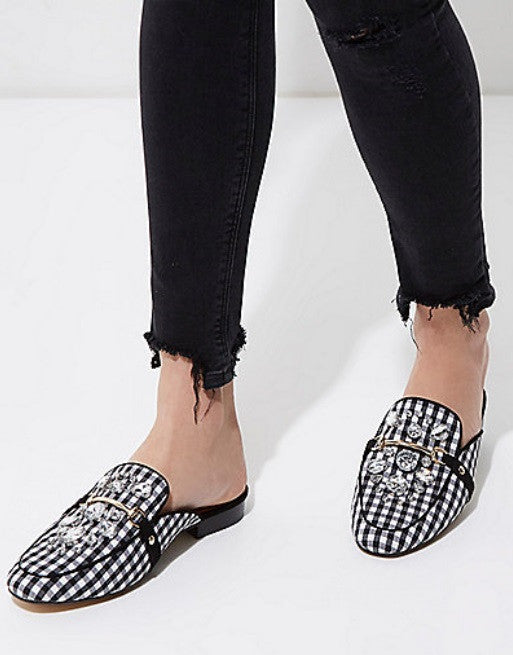 BLACK GINGHAM PRINT BACKLESS LOAFERS