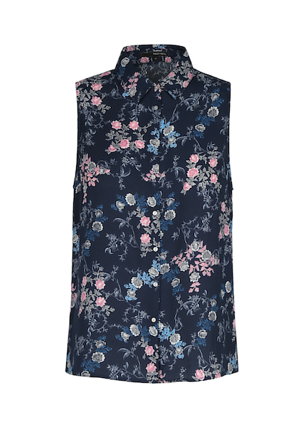 BLUE FLORAL SLEEVELESS BLOUSE
