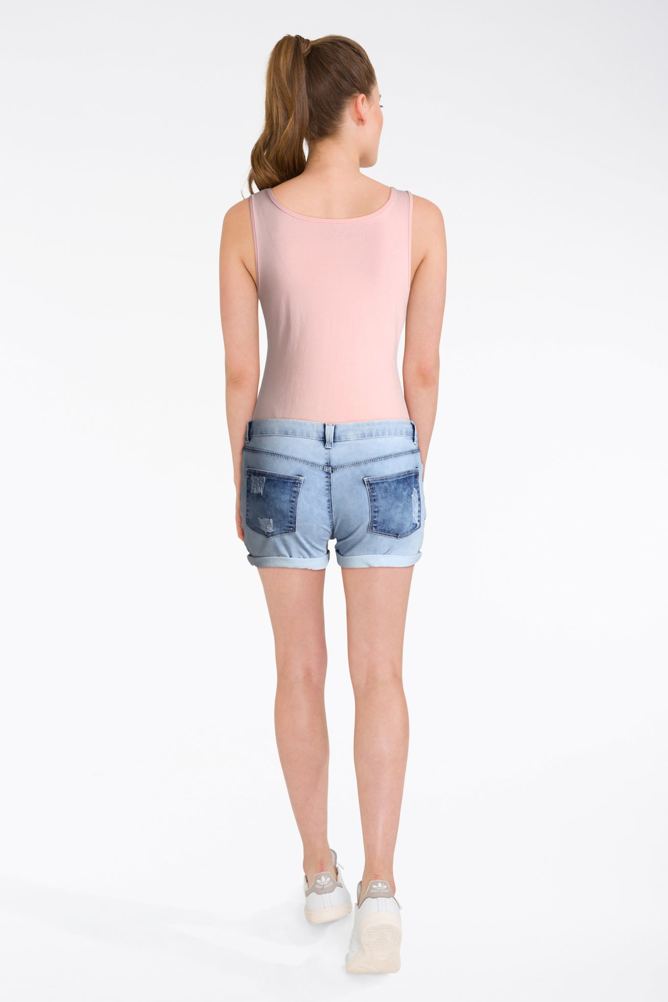 Pink Vest With Denim Shorts