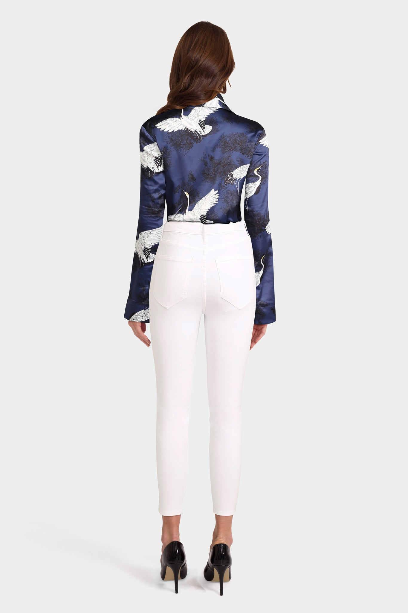 White Skinny Jeans With Bird Print Blouse