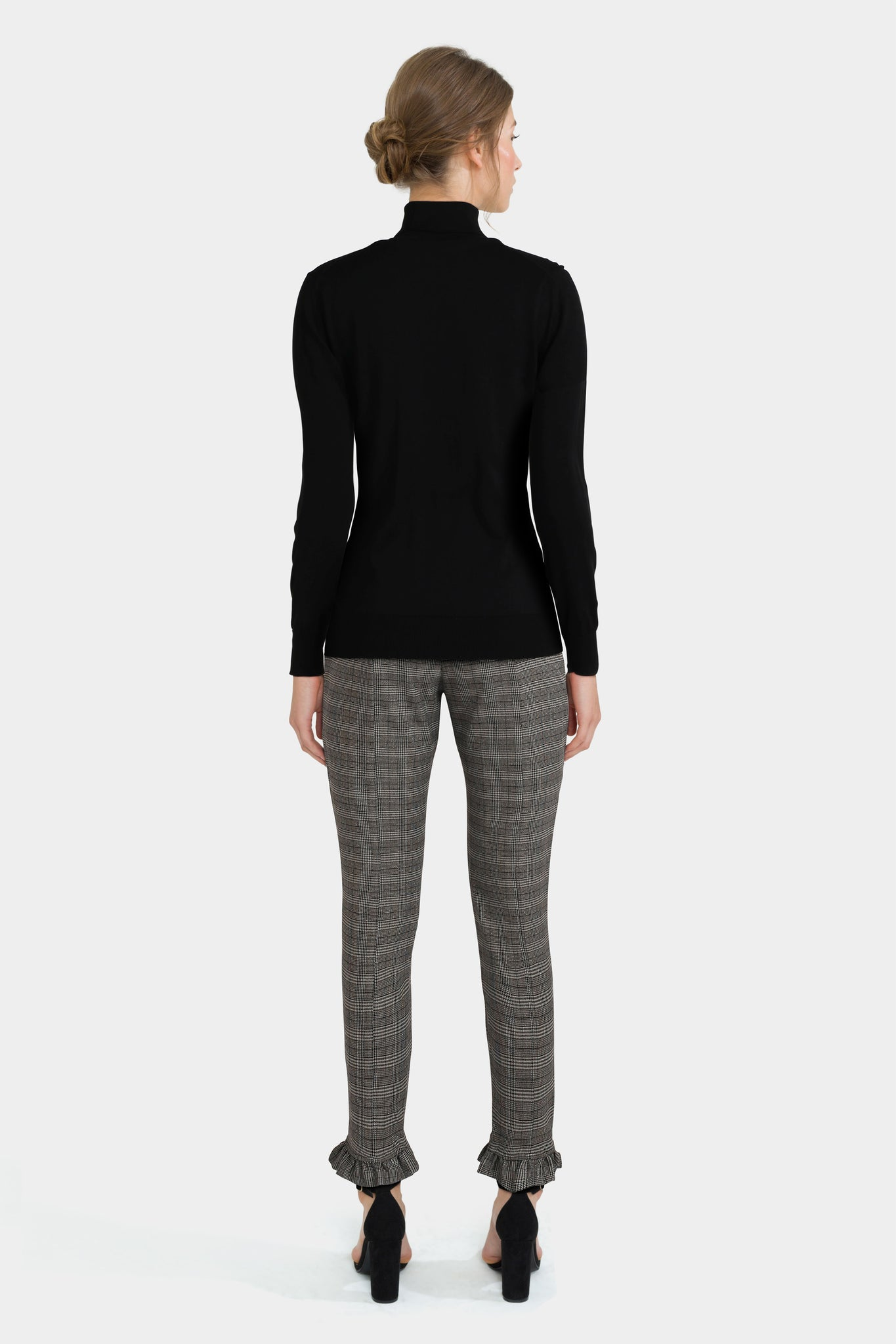 Polo Neck Sweater & Check Tailored Trousers