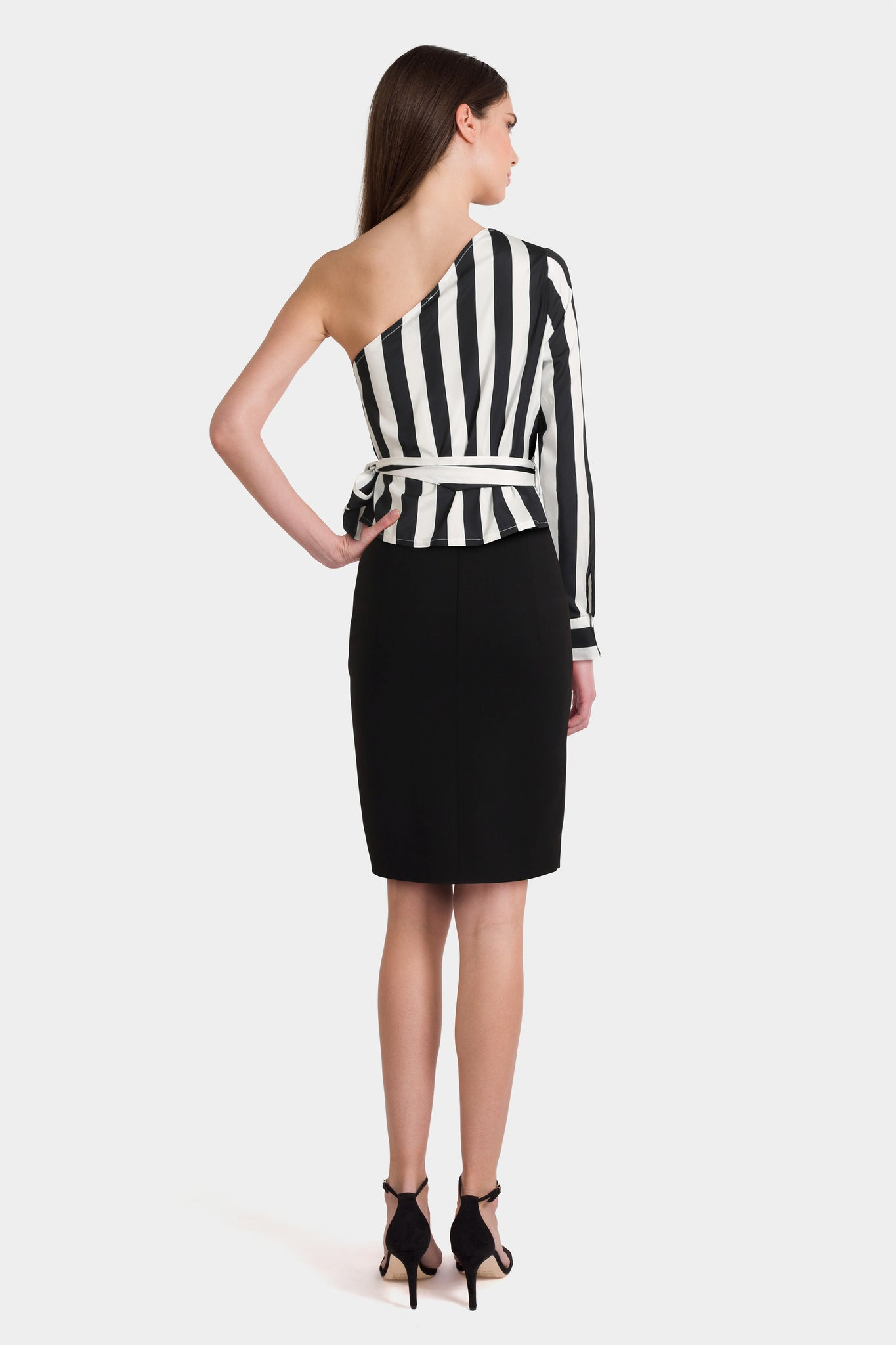 One Shoulder Blouse & Pencil Skirt