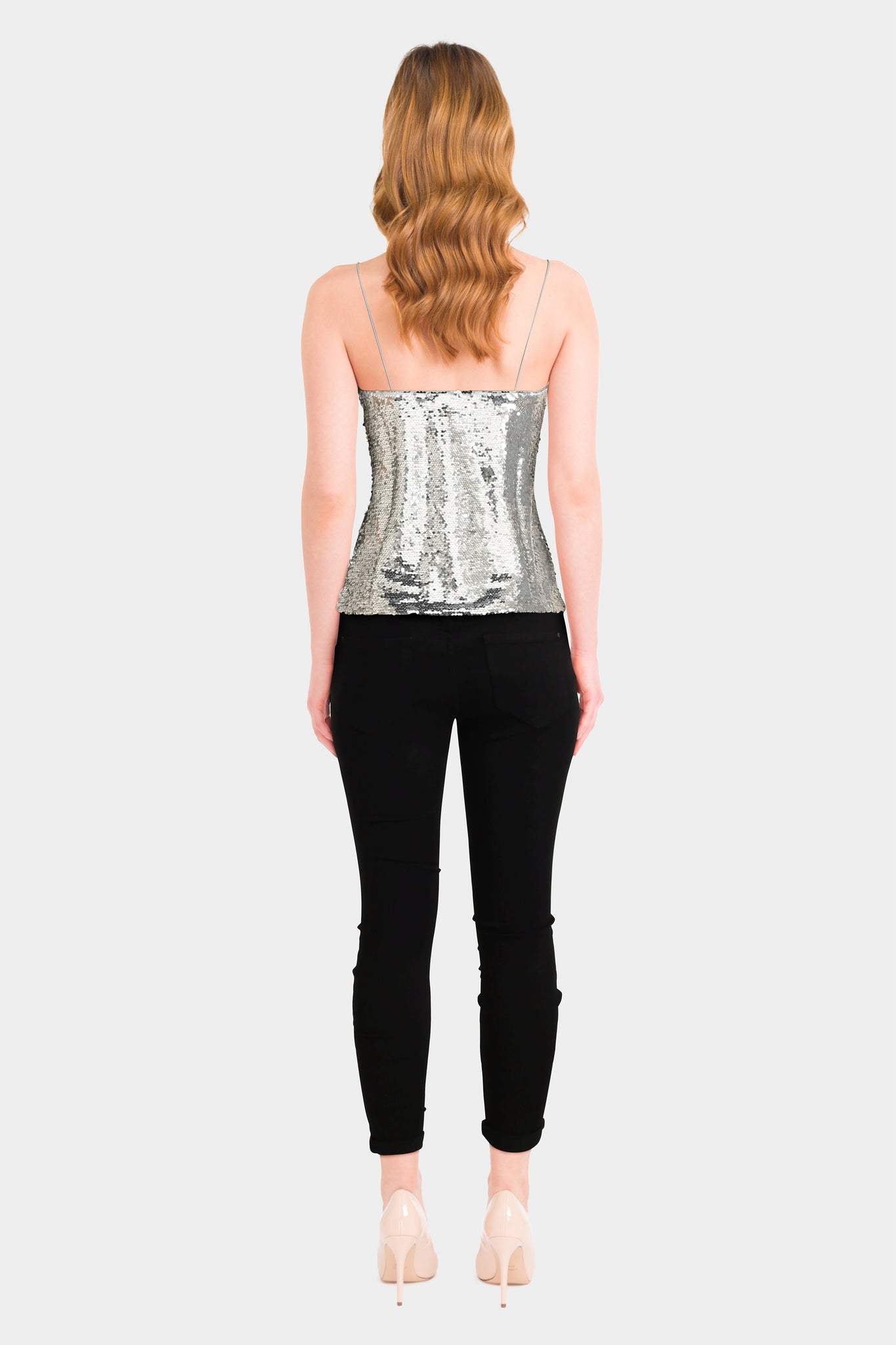 High Waist Skinny Jeans & Sequined Cami