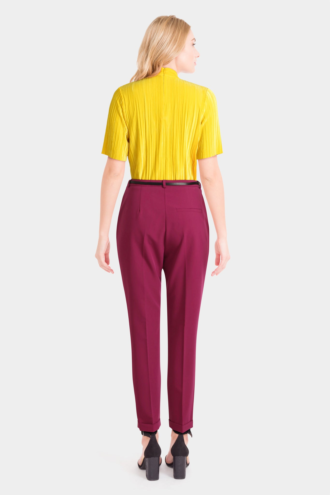 Velvet Choker Top & Cigarette Trousers With Belt