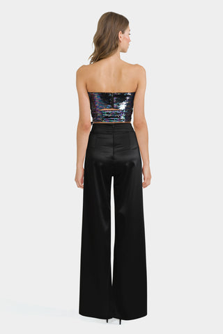 Sequin Bandeau Top & Black Palazzo Trousers