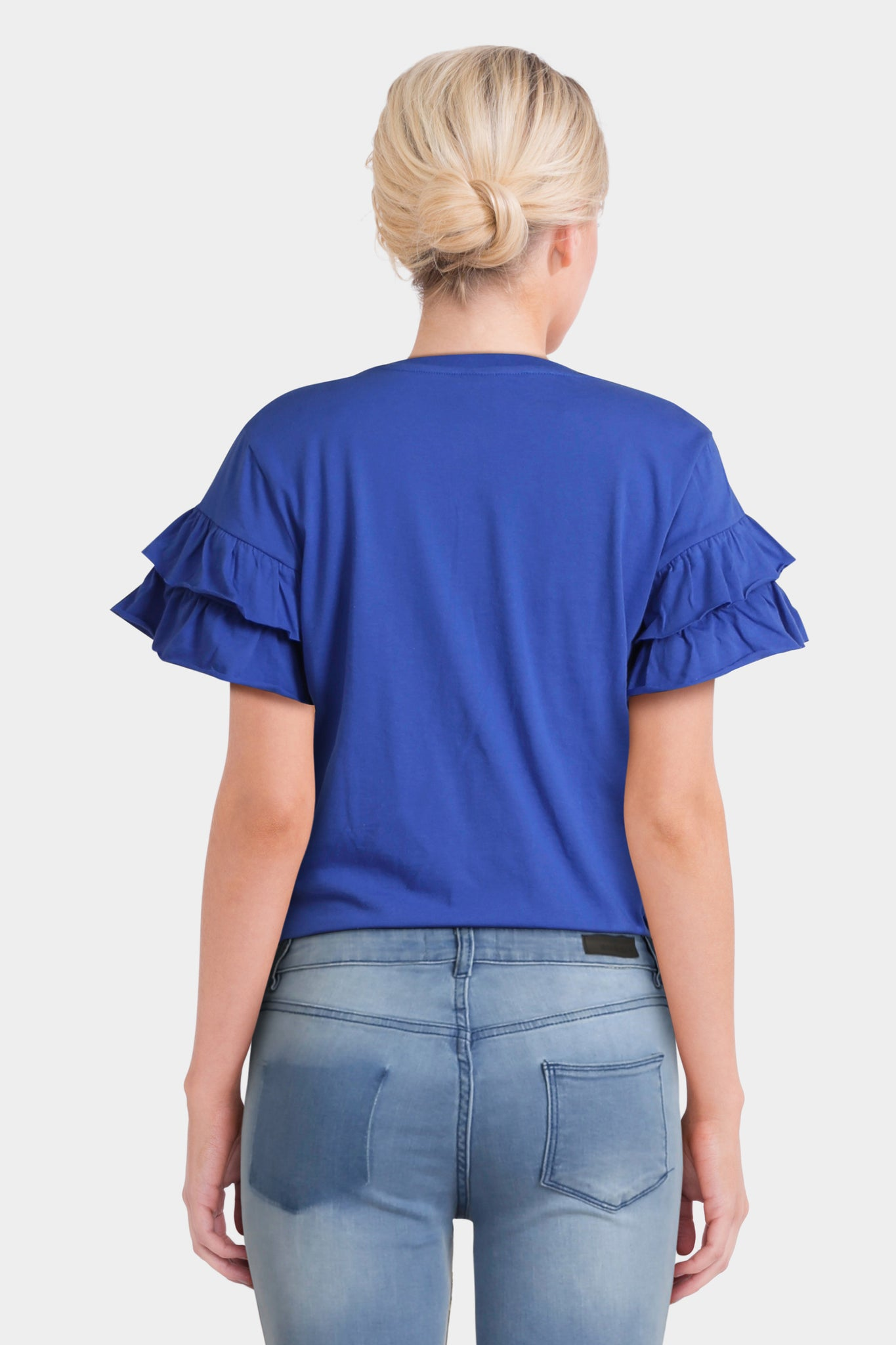 Asos T-Shirt With Ruffle Sleeve And Mix And Match Motif
