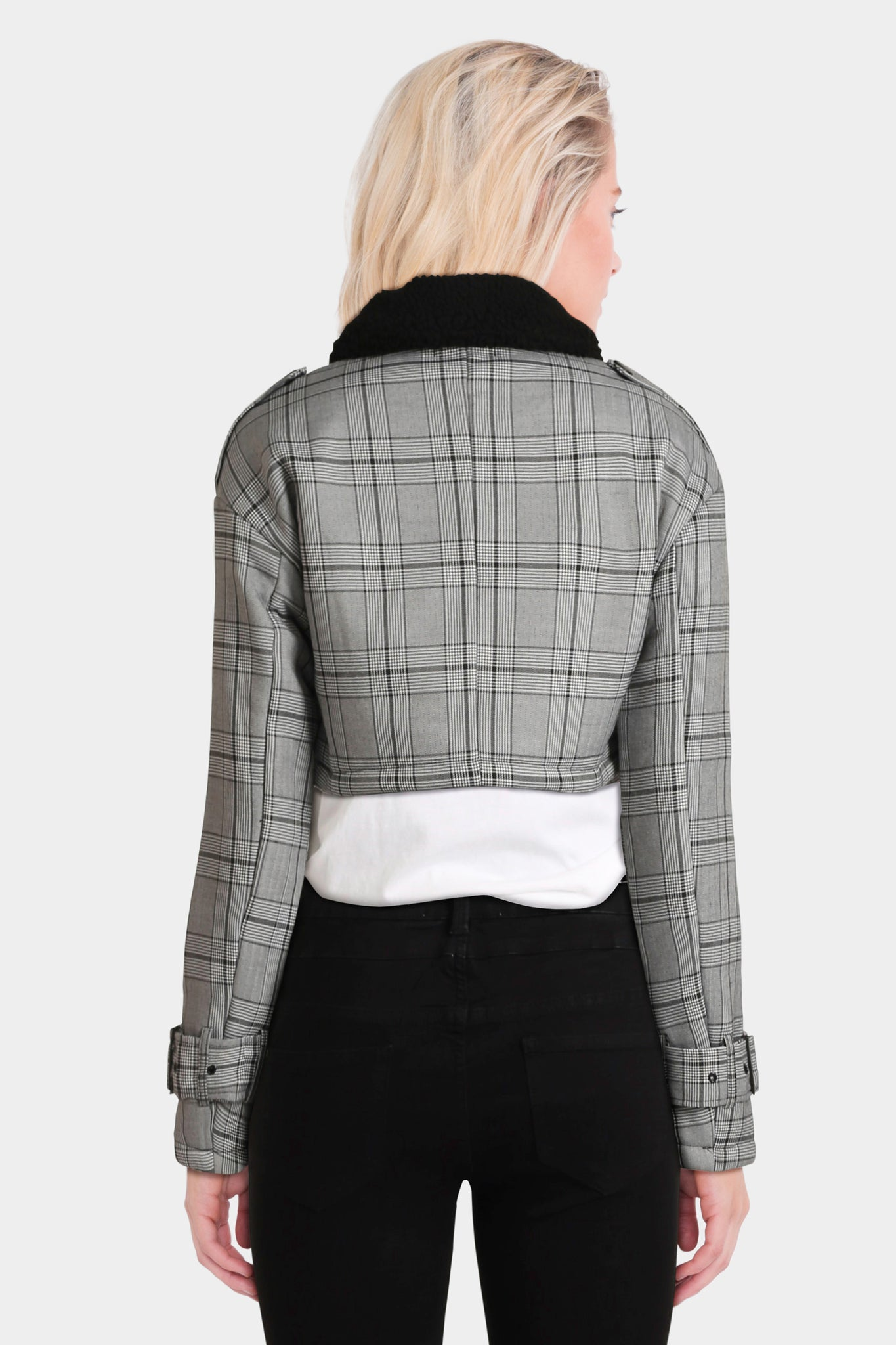 Missguided Checked Borg Collar Jacket