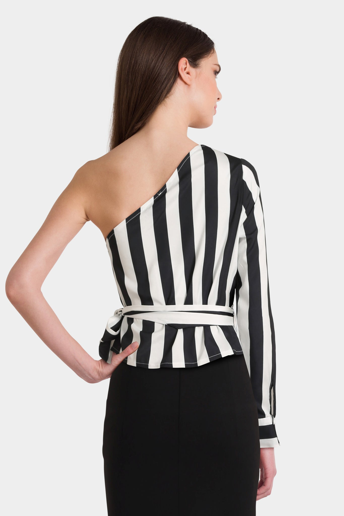 Missguided Petite One Shoulder Wide Stripe Tie Waist Blouse