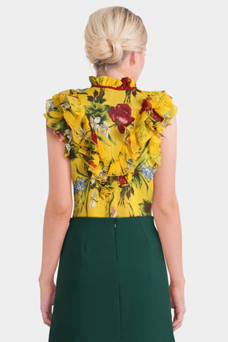 Asos Petite Yellow Floral Sleeveless Blouse with Ruffle Front