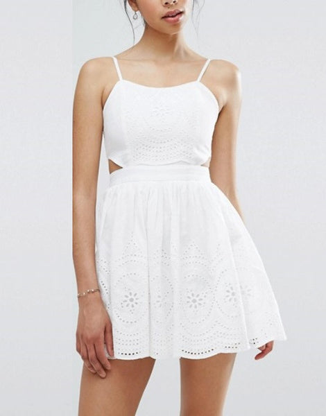 Boohoo Cut Out Lace Skater Dress
