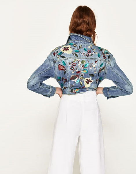 Cropped Jacket With Embroidery