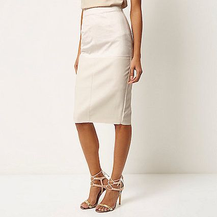 CREAM FAUX SUEDE PENCIL SKIRT