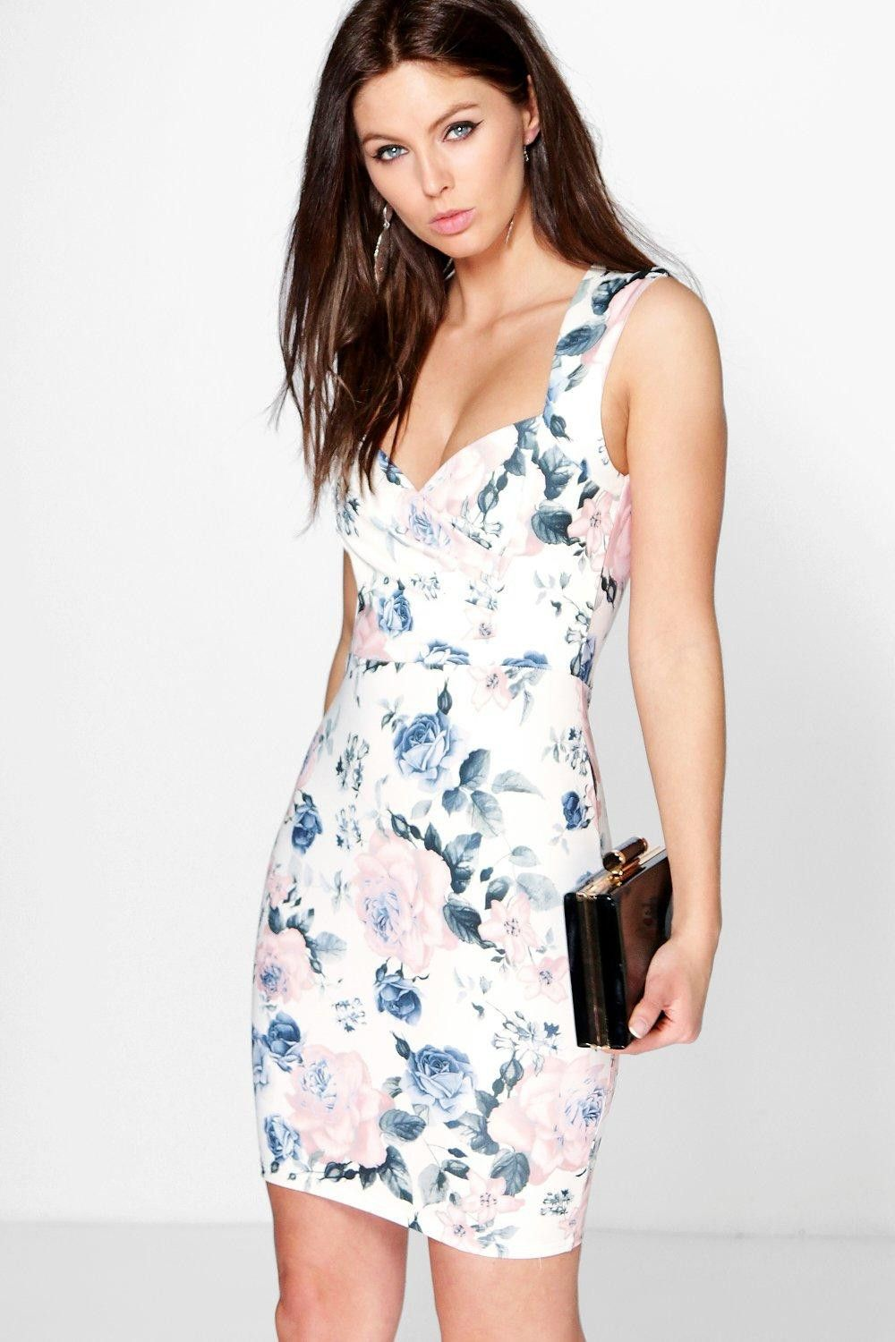 FANIA FLORAL PRINT SWEETHEART DRESS