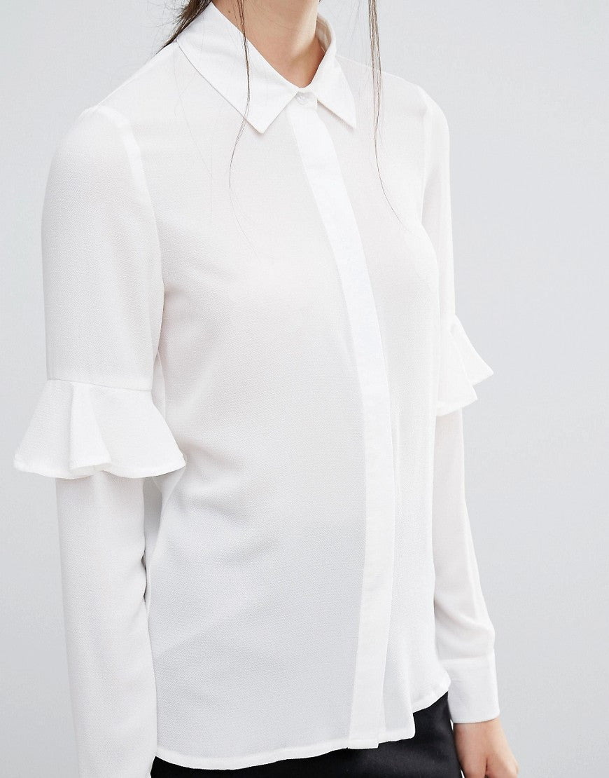 BLOUSE WITH FRILL SLEEVE DETAIL