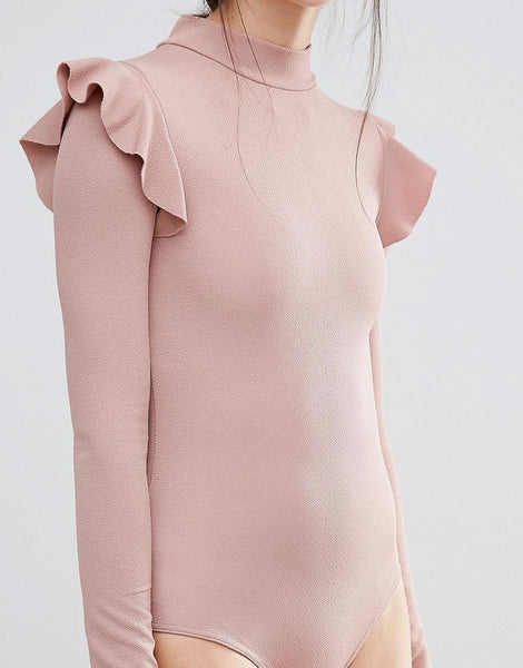 BODY SUIT WITH FRILLED SHOULDERS