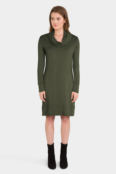 Daily Ritual Women's Supersoft Terry Long-Sleeve Cowl Neck Dress