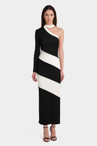 Asos One Shoulder Heavy Rib Contrast Panel Maxi Dress with Choker Detail