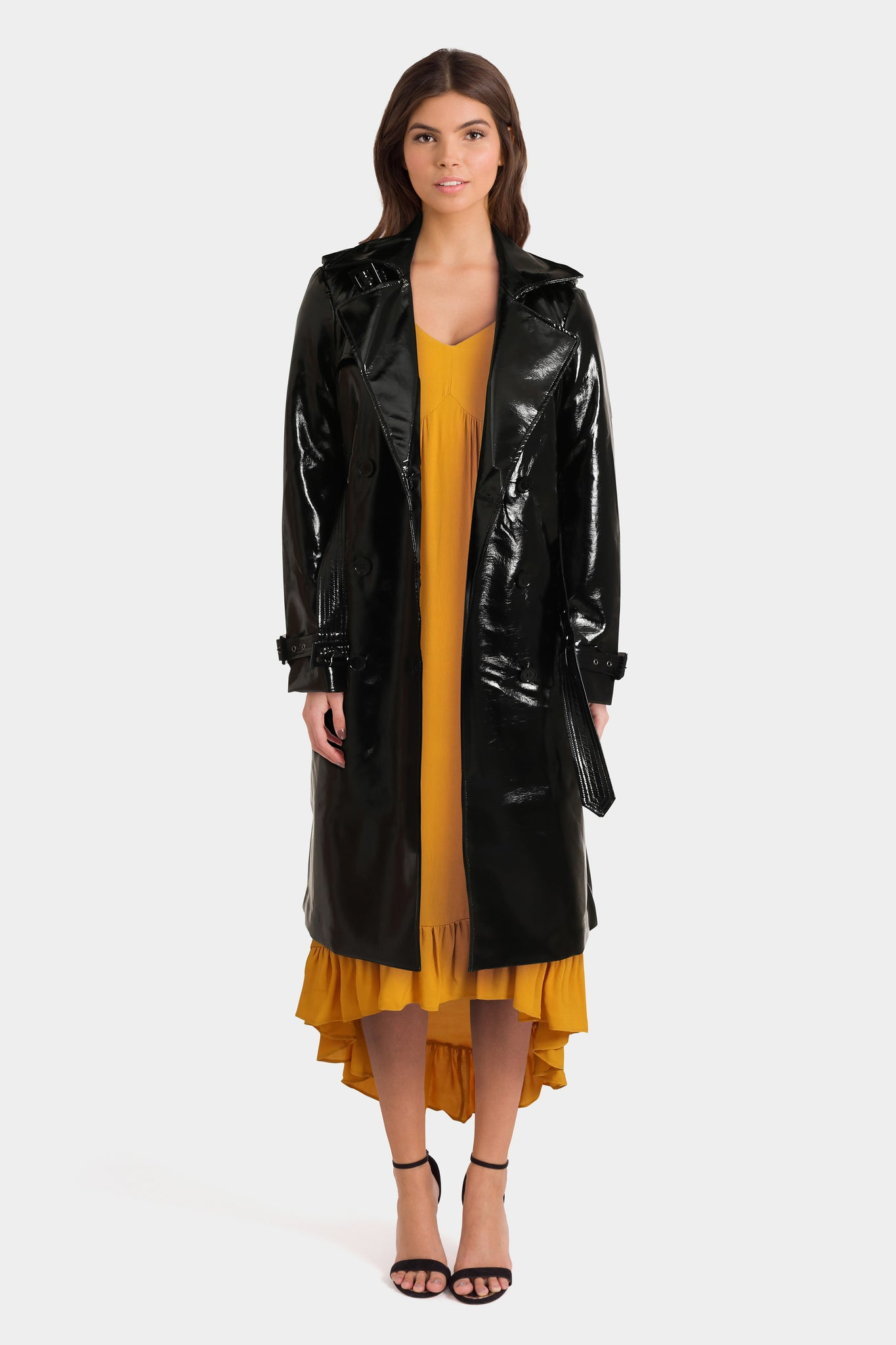Maxi Dress & Vinyl Trench Coat