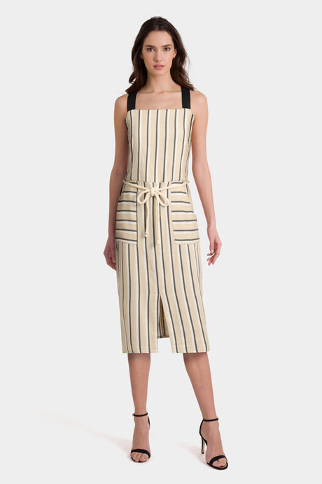 Asos Sundress In Stripe With Contrast Straps And Rope Belt