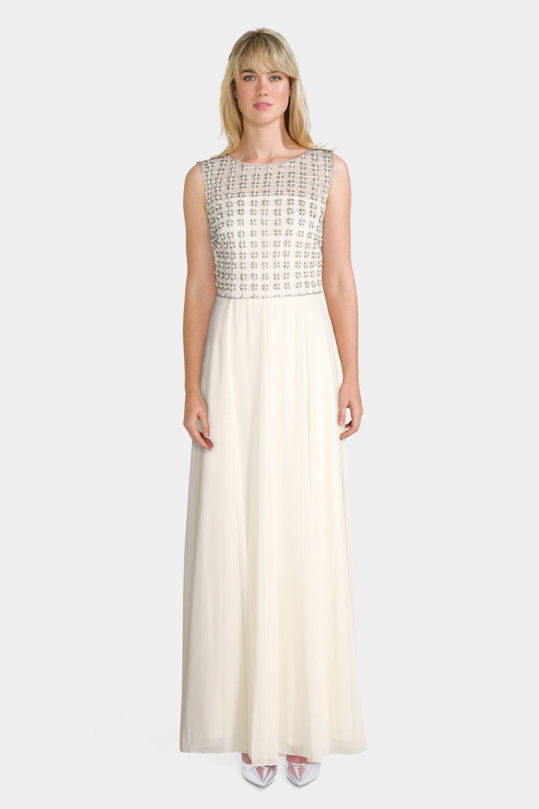 Beaded Sleeveless Cream Dress