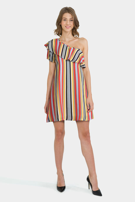 Rage One Shoulder Stripe Dress