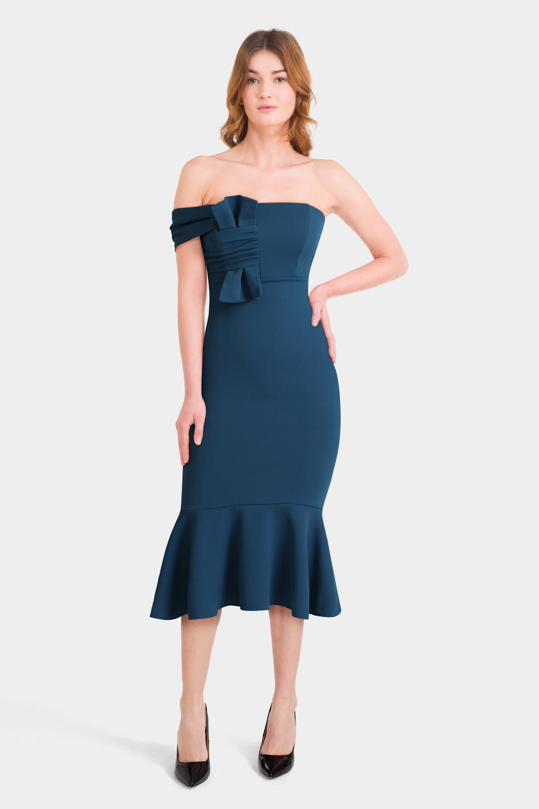 Crepe Bandeau Bow Front Midi Bodycon Dress