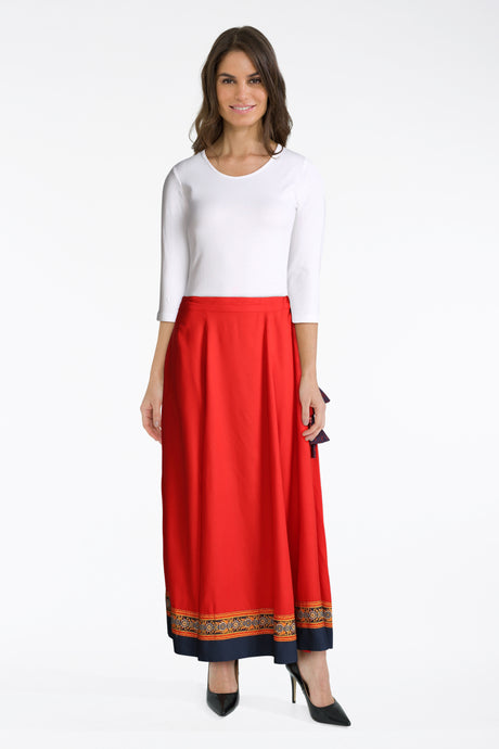 White Top With Red Maxi Skirt