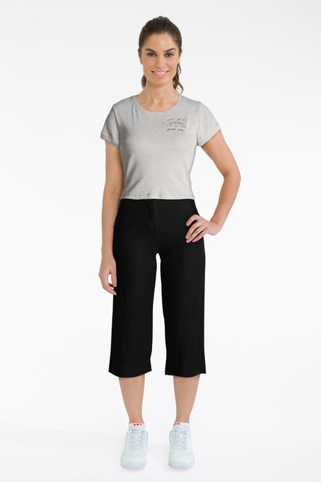 Black Cropped Trousers With Grey Tee