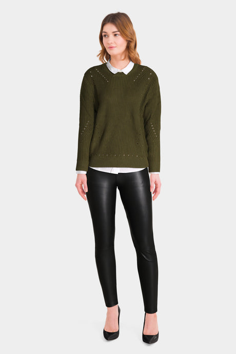 Leather Trousers With Green Jumper