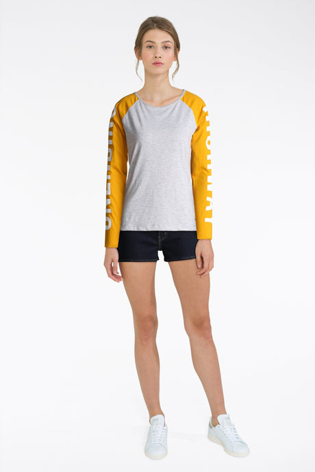 Yellow Sleeve Top With Black Shorts