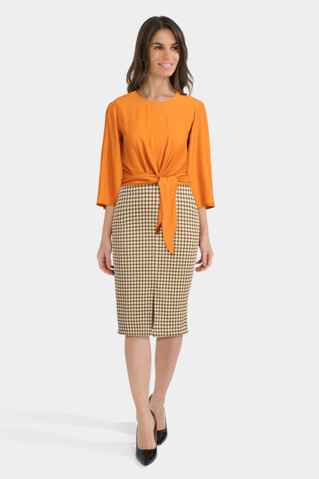 Pencil Skirt & Cropped Top With Tied Bow