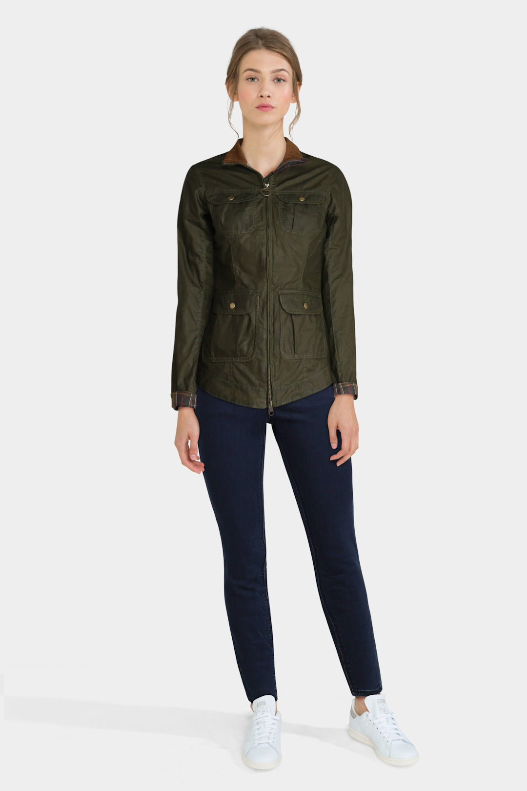 Green Barbour Jacket With Skinny Jeans