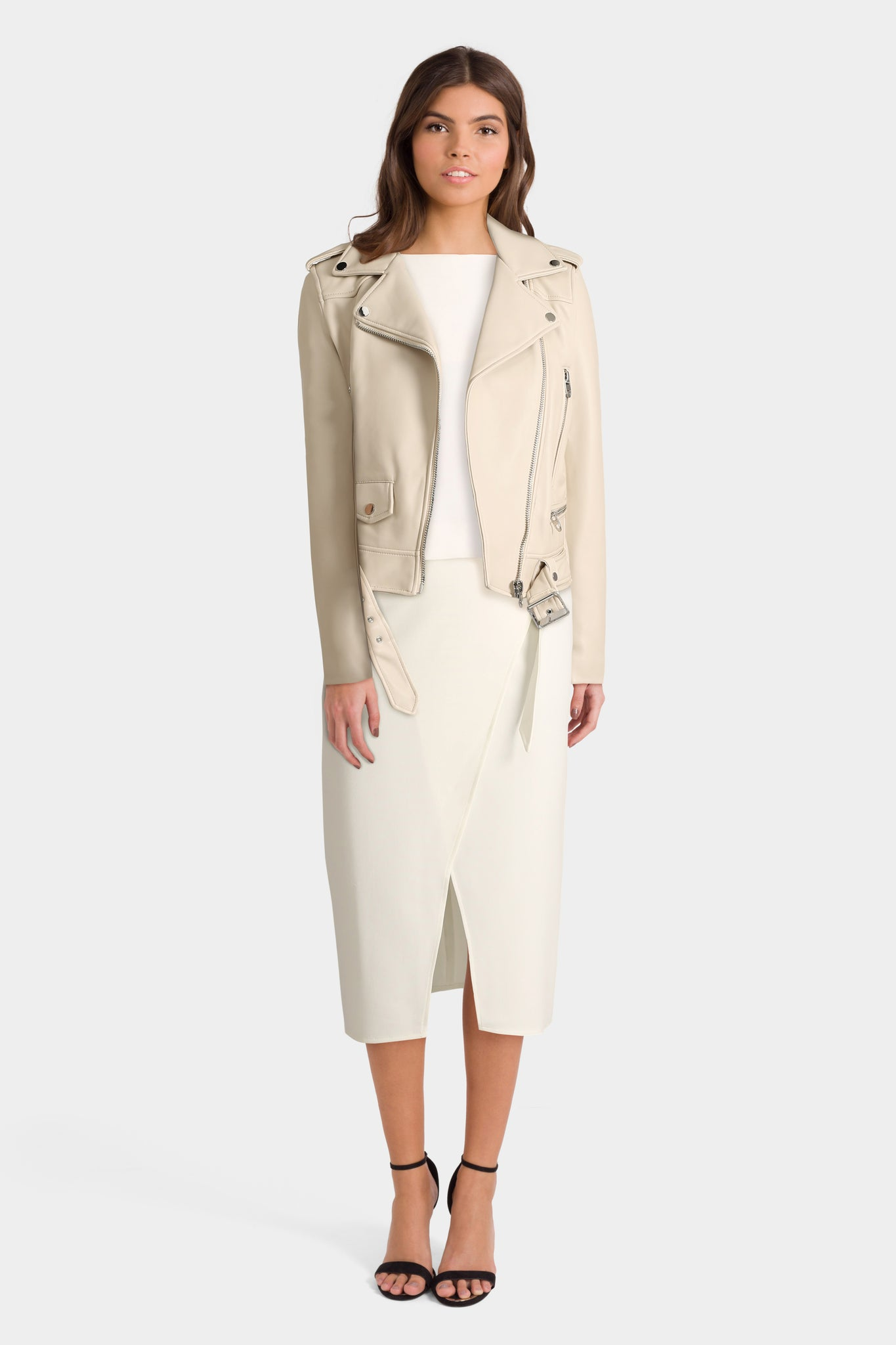 Pencil Skirt With White Top & Leather Look Biker Jacket