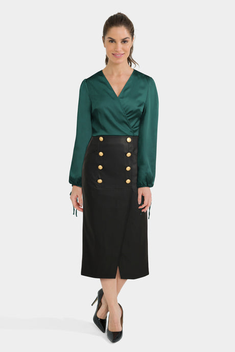 Leather Look Pencil Skirt With Wrap Front Satin Top