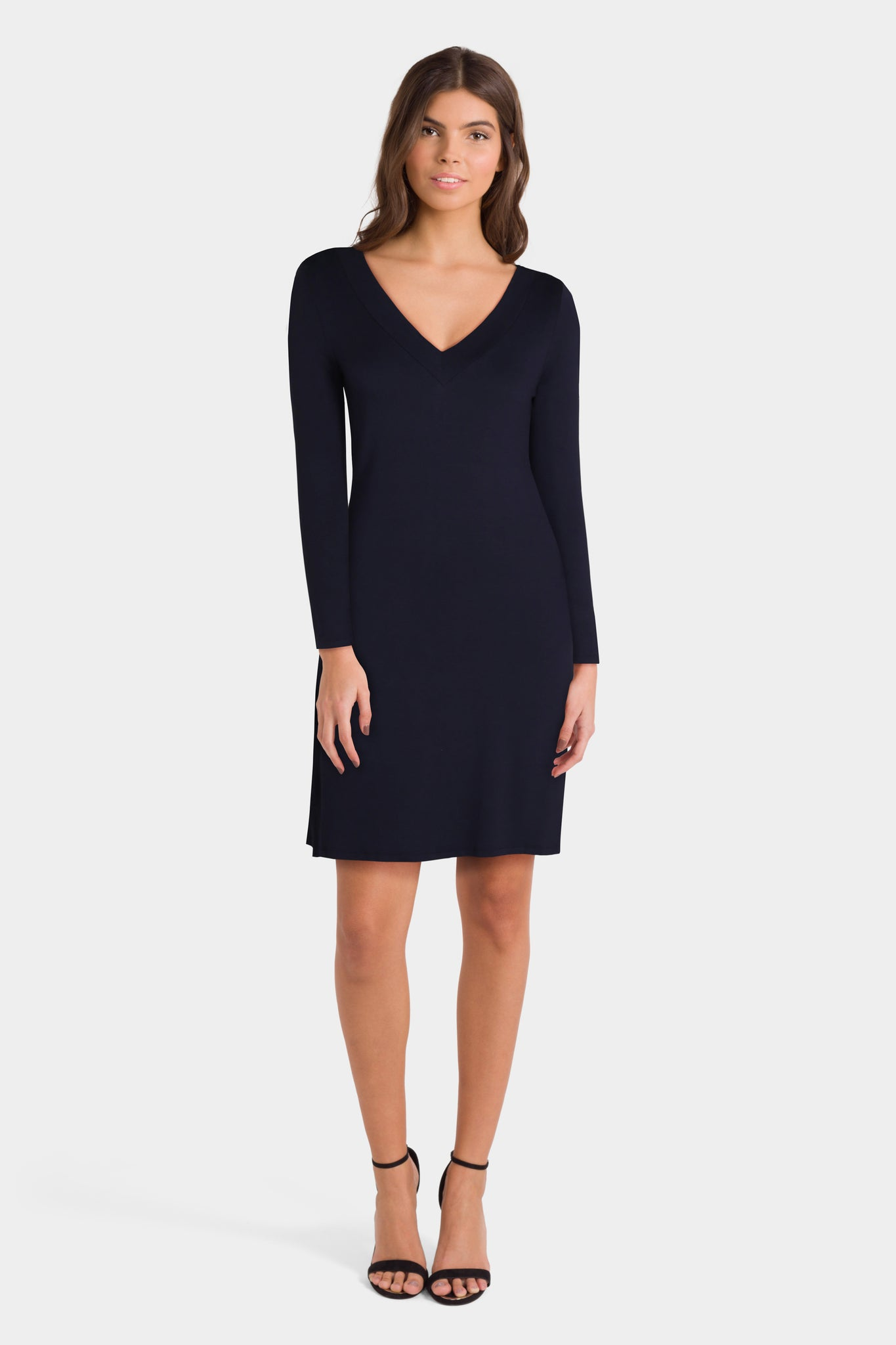 Daily Ritual Women's Supersoft Terry Long-Sleeve V-Neck Dress