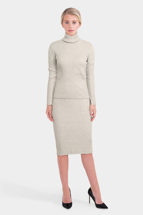 Knitted Tube Skirt And Roll Neck Jumper