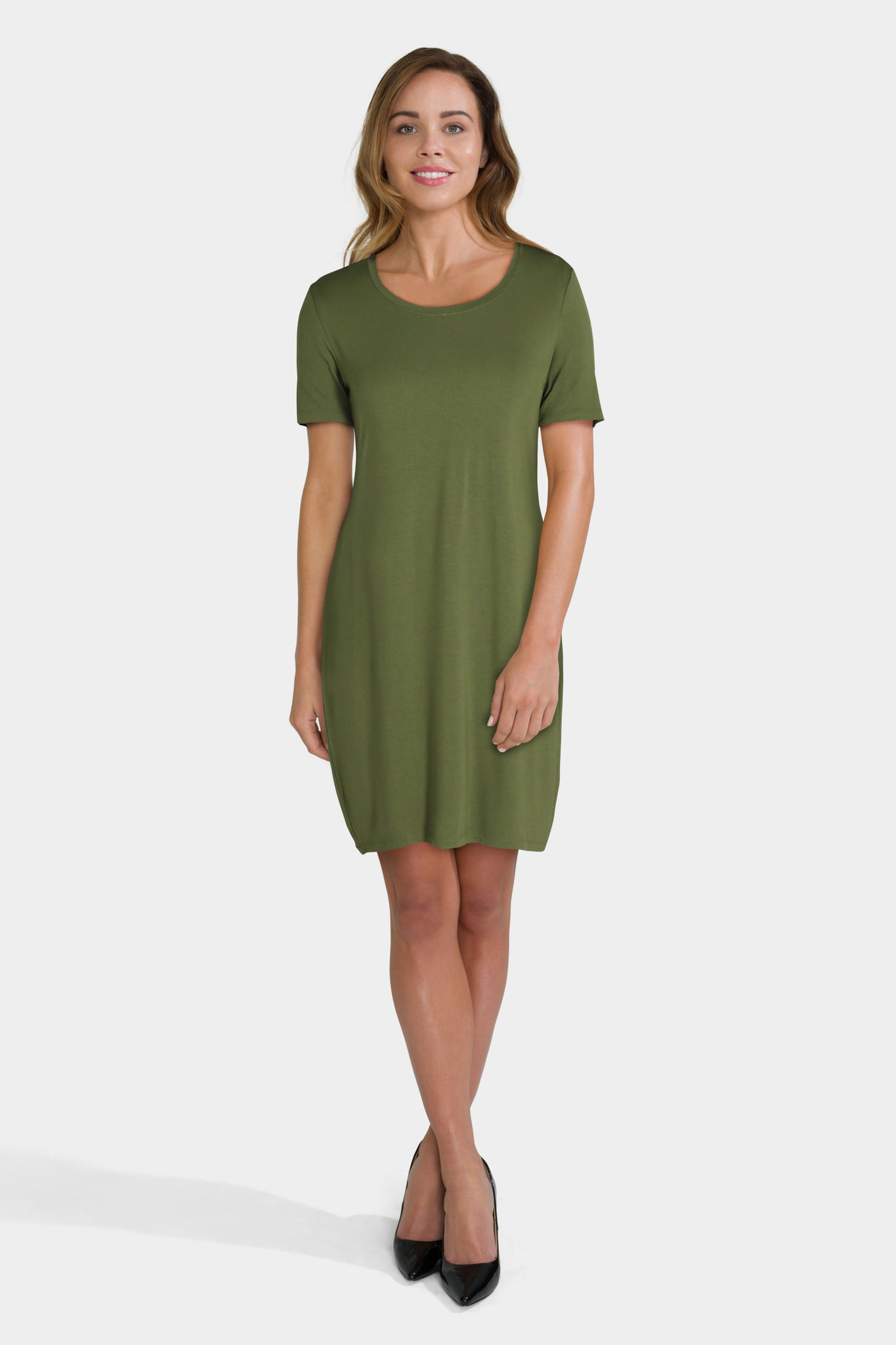 Daily Ritual Women's Jersey Short-Sleeve Scoop Neck T-Shirt Dress
