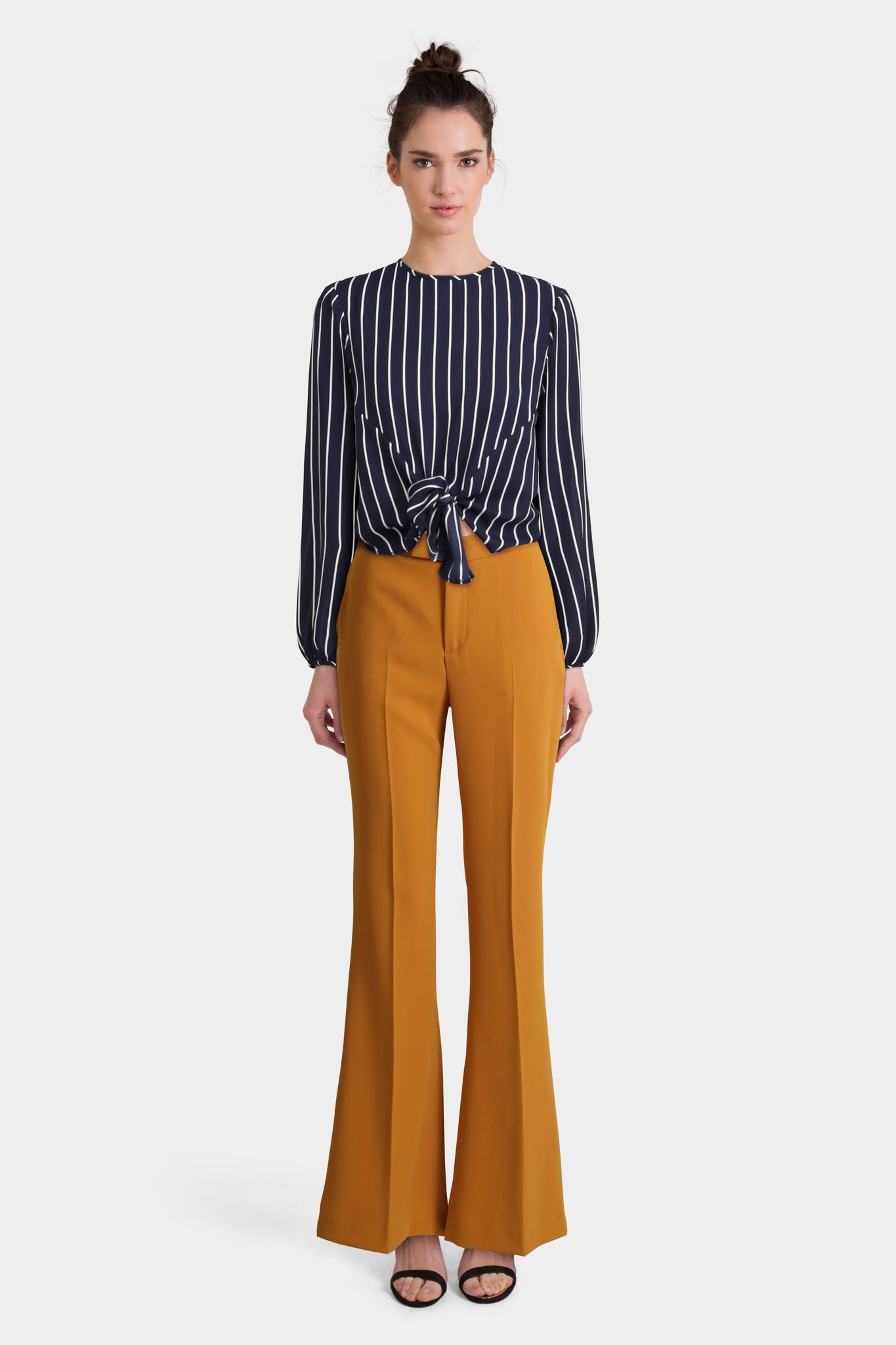 Flared Trousers With Knotted Top In Stripe